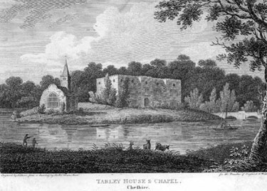 Tabley: Old Hall and Chapel engraving