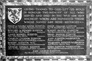 Chester Cathedral: The Egerton Memorial Tablet