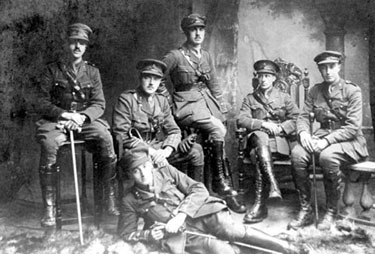 Neston: Colonel Behrend far right with other officers