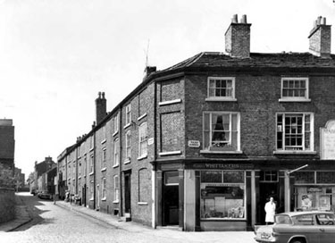 Macclesfield: Corner Shop and barber's shop off Park Green and Parsonage Street