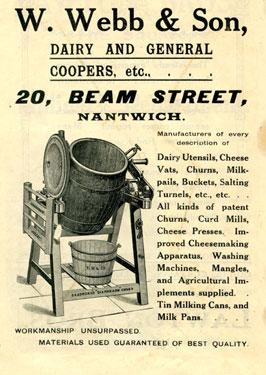 Nantwich: W. Webb & Son, churn-makers, 20 Beam Street