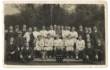 Frodsham: Frodsham AFC with trophies.