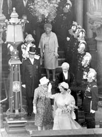 Chester:Town Hall steps, visit of Queen Mother