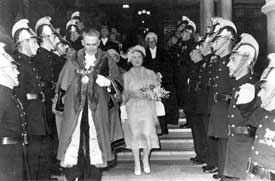 Chester: Town Hall, visit of the Queen Mother