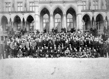 Group assembled outside Eaton Hall. Estate Tenants