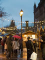 View: c11597 Chester: People visiting the Christmas market at Town Hall Square