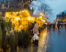 View: c11599 Chester: Christmas tree market stall in Town Hall Square