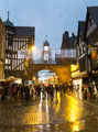 View: c11601 Chester: Eastgate Clock at dusk with Christmas lights